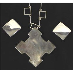 Sterling Silver Necklace and Clip-On Earrings
