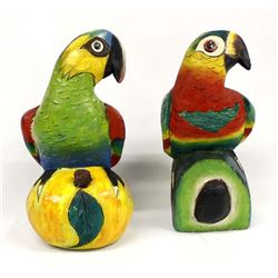 2 Vintage Mexican Carved Wood Parrots