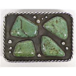 1940s Navajo Sterling Turquoise Belt Buckle