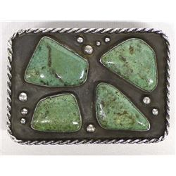 1940s Navajo Sterling Turquoise Belt Buckle