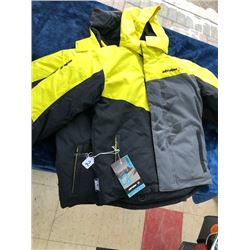 2 Skidoo kids' winter coats, size 12 and 14, with powder skirt