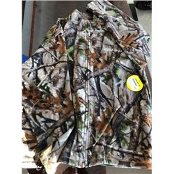 RPM waterproof breathable camo bib pant, size 2XL; 1 fleece jacket, sizes XXL