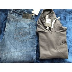 1 pair Gastown jeans, size 40/34; 1 hoodie, size XL