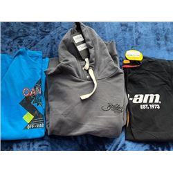 1 hoodie, 1 long sleeve, 1 t-shirt, size L