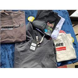 1 hoodie, 1 l/s, 3 t-shirts, size M