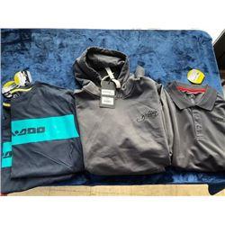 1 hoodie, 2 t-shirts, 1 polo; size XL