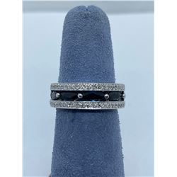 LADIES 14K WHITE GOLD RING WITH 5 SAPPHIRES AND 50 DIAMONDS RV $4,620.00