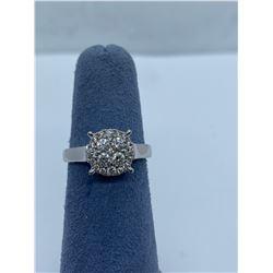 10K LADIES CLUSTER RING WITH DIAMONDS RV $1,400.00