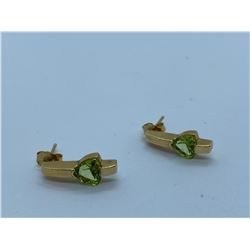 PAIR OF LADIES 14K YELLOW GOLD EARRINGS WITH 2 PERIDOTS RV $820.00