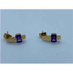 PAIR OF LADIES 14K YELLOW GOLD EARRINGS WITH 2 AMETHYSTS RV $780.00