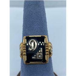 10K MENS SIGNET RING WITH ONYX & DIAMOND RV $450.00