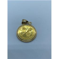 14K PENDANT WITH QE II ROYAL VISIT GOLD COIN RV $785.00