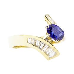 1.64 ctw Sapphire And Diamond Ring - 14KT Yellow Gold