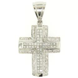 14k White Gold 2.10 ctw Invisible Set Princess & Round Diamond Cross Pendant