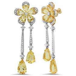 18k Yellow Gold 4.94CTW Diamond and Golden Beryl Earrings, (SI1-SI2/G-H)