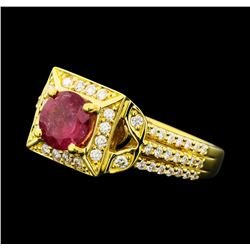 1.02 ctw Pink Tourmaline And Diamond Ring - 18KT Yellow Gold