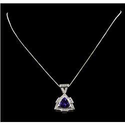 5.51 ctw Tanzanite And Diamond Pendant & Chain - 14KT White Gold