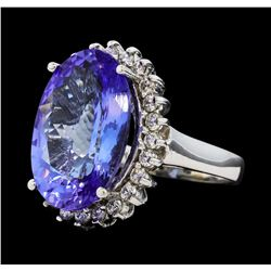 10.74 ctw Tanzanite and Diamond Ring - 14KT White Gold