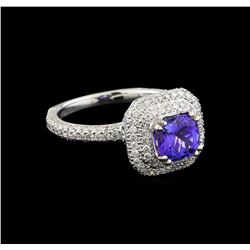 18KT White Gold 1.44 ctw Tanzanite and Diamond Ring