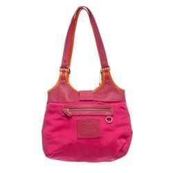 Coach Pink Canvas Leather Trim Shoulder Bag