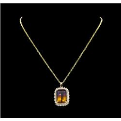 22.70 ctw Ametrine and Diamond Pendant With Chain - 14KT Yellow Gold