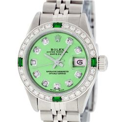 Rolex Ladies Stainless Steel Quickset Green Diamond & Emerald Wristwatch