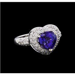 2.86 ctw Tanzanite and Diamond Ring - 18KT White Gold