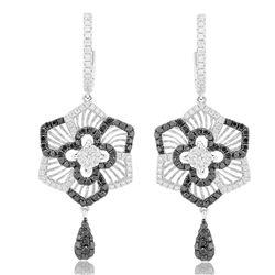 18k White Gold 1.35CTW Diamond and Black Diamonds Earrings, (VS2-SI1/G)