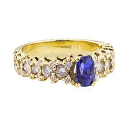 2.10 ctw Blue Sapphire And Diamond Ring - 18KT Yellow Gold