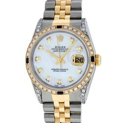 Rolex Mens 2 Tone 14K Lugs MOP Diamond & Sapphire 36MM Datejust