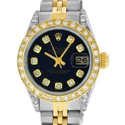 Rolex Ladies 2 Tone 18K Black Diamond Lugs Datejust Wristwatch With Rolex Box