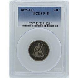 1875-CC Seated Liberty Twenty Cent Piece Coin PCGS F15