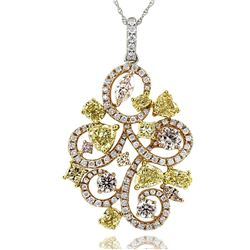 18k Rose Gold 3.90CTW Diamond Pendant, (VS/Fancy Yellow/G/Pink)