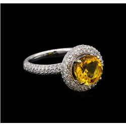 14KT White Gold 2.70 ctw Citrine and Diamond Ring
