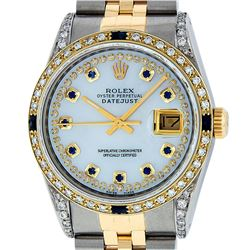 Rolex Mens 2 Tone 14K Lugs MOP Sapphire & Diamond 36MM Datejust