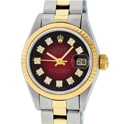 Rolex Ladies 2 Tone 14K Red Vignette Diamond 26MM Datejust Wristwatch