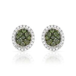 14k White Gold 0.47CTW Diamond and Green Dia Earrings, (SI/H)