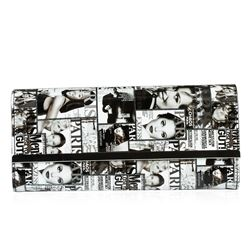 Black and White Fashionista Patent Oversized Clutch