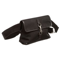 Gucci Black Canvas Leather GG Waist Bag
