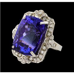 31.60 ctw Tanzanite and Diamond Ring - 14KT White Gold
