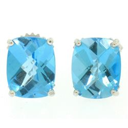 14k White Gold Cushion Cut Natural Blue Topaz Solitaire  Stud Earrings