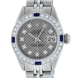 Rolex Ladies Stainless Steel Slate Grey Stamp Diamond & Sapphire Datejust Wristw