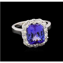 4.71 ctw Tanzanite and Diamond Ring - 14KT White Gold