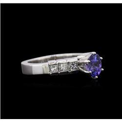 1.00 ctw Tanzanite and Diamond Ring - Platinum