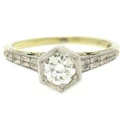 14k Gold & Platinum Old European Diamond Etched Solitaire Ring