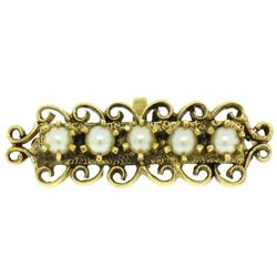 14K Solid Yellow Gold Bar Open Work with Pearls Pin Brooch & Pendant
