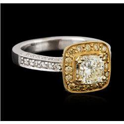 18KT Two-Tone Gold 1.43 ctw Fancy Light Yellow Diamond Ring
