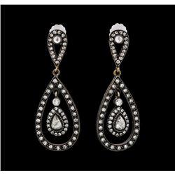 1.21 ctw Diamond Earrings - 14KT Rose With Black Rhodium Gold