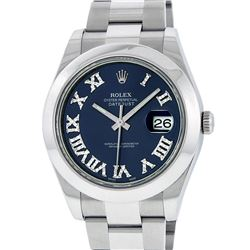 Rolex Mens SS 41MM Blue Roman Diamond Datejust 2 Oyster Band Wristwatch With Box