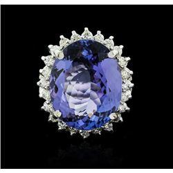 14KT White Gold 12.19 ctw Tanzanite and Diamond Ring